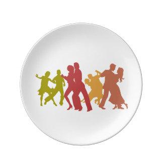 Colorful Tango Dancers Porcelain Plate