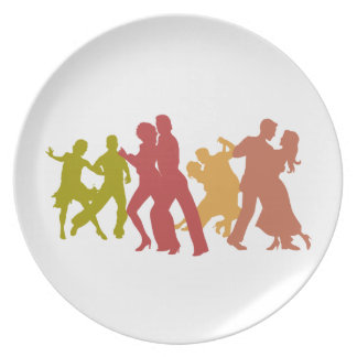 Colorful Tango Dancers Party Plate