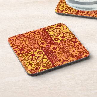 Colorful Tapa Cloth Design Drink Coaster