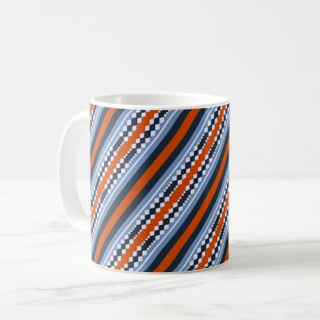 Colorful tartan and lozenge pattern coffee mug
