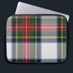 "Colorful Tartan Plaid Laptop Cover<br><div class=""desc"">Great looking laptop cover done in a colorful red,  green,  and white traditional tartan plaid pattern.  The handsome Stewart Clan dress plaid is suitable for men or woman.  Customize to add any text.  Makes a great gift idea.  Chose the size you need.</div>"