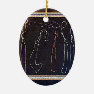 Colorful Tassels in Frame, Chalkboard Ceramic Ornament