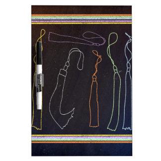Colorful Tassels in Frame, Chalkboard Dry Erase Board