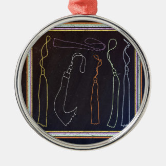 Colorful Tassels in Frame, Chalkboard Metal Ornament