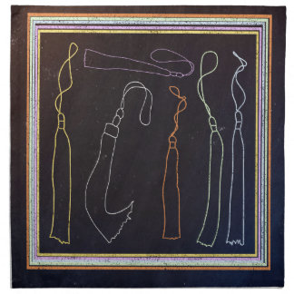Colorful Tassels in Frame, Chalkboard Napkin