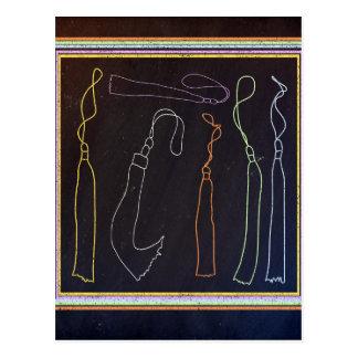 Colorful Tassels in Frame, Chalkboard Postcard
