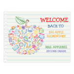 Colorful Teachers Apple Back to School Postcard