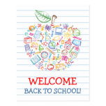 Colorful Teachers Apple Back to School Postcard