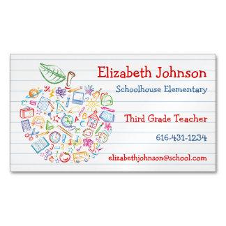 Colorful Teachers Apple Business Card Magnet
