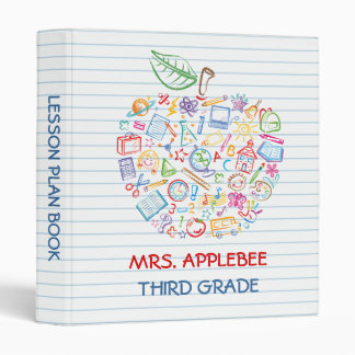 Colorful Teachers Apple School Doodles Binder