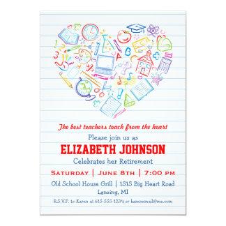Colorful Teachers Heart Retirement Party Invite