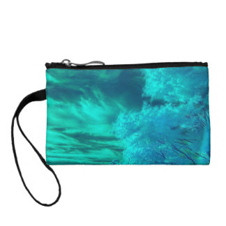 Colorful Teal Forest Key Coin Clutch
