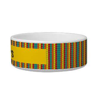 Colorful Teal, Orange, Yellow, and Red Dot Stripes Bowl