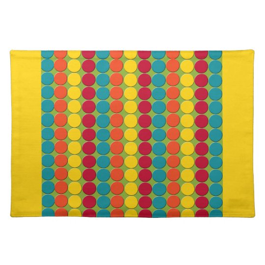 Teal And Red Yellow Orange Kitchen: Colorful Teal, Orange, Yellow, And Red Dot Stripes Cloth