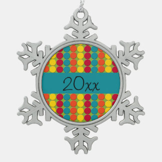 Colorful Teal, Orange, Yellow, and Red Dot Stripes Snowflake Pewter Christmas Ornament