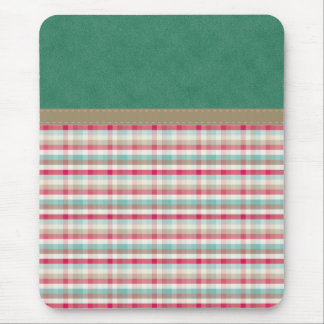 Colorful Teal & Pink Plaid on Suede Leather Mouse Pad