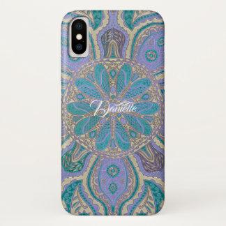 Colorful Teal  Purple Gold Mandala iPhone X Case