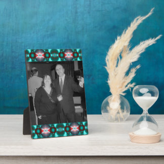 Colorful teal red design plaque