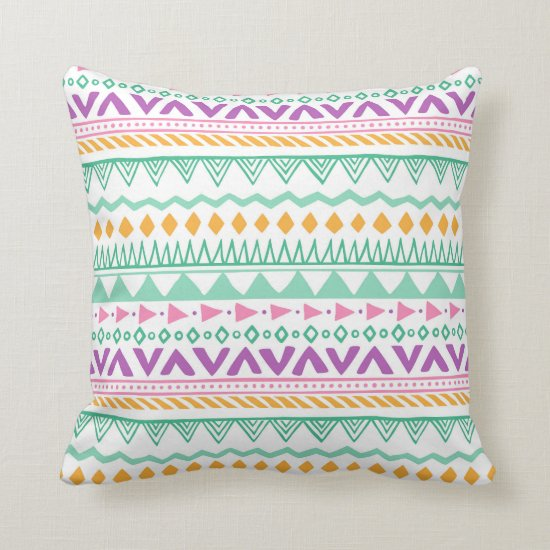 Colorful Teal Yellow Pink Purple Boho Tribal Throw Pillow
