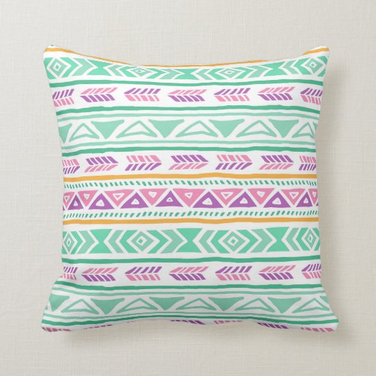Colorful Teal Yellow Pink Purple Tribal Aztec Boho Throw Pillow