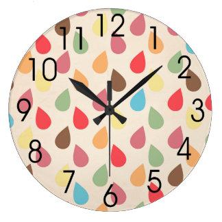 Colorful Teardrop, Raindrop Pattern Large Clock