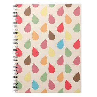Colorful Teardrop, Raindrop Pattern Spiral Notebook
