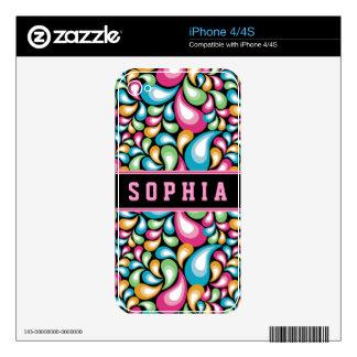Colorful Teardrops iPhone 4 Skin