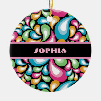 Colorful Teardrops Double-Sided Ceramic Round Christmas Ornament