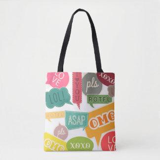 Colorful Teen Slang Text Bubble Tote Bag