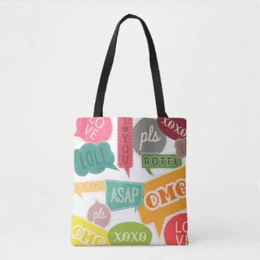 Lovewhatwedo Colorful Teen Slang Text Bubble Tote Bag