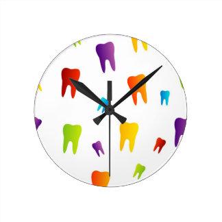 Colorful teeth round clock