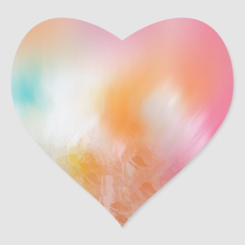 Colorful Template Abstract Pink Red Yellow Blue Heart Sticker