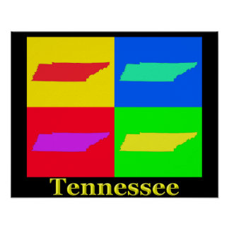 Colorful Tennessee Pop Art Map Print