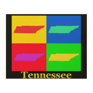 Colorful Tennessee Pop Art Map Wood Canvases