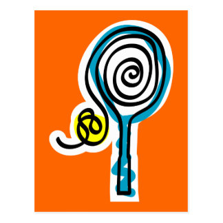 Colorful Tennis Spiral Rope Postcard