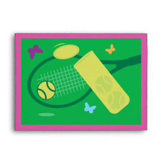 Colorful tennis theme greeting card envelopes