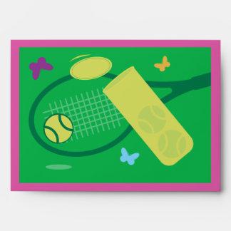 Colorful tennis theme greeting card envelopes
