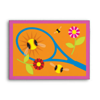 Colorful tennis themed greeting card envelopes