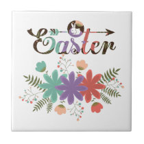 Colorful Text And Flowers Ceramic Tile