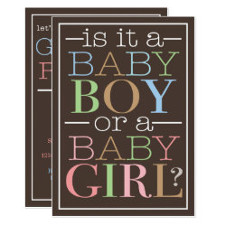 Colorful Text Baby Boy or Girl Gender Reveal Party Invitation