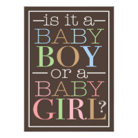 Colorful Text Baby Boy or Girl Gender Reveal Party Custom Invites