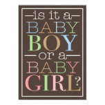 Colorful Text Baby Boy or Girl Gender Reveal Party 5x7 Paper Invitation Card