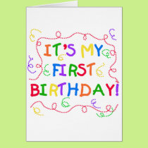 Colorful Text It's My First Birthday Card