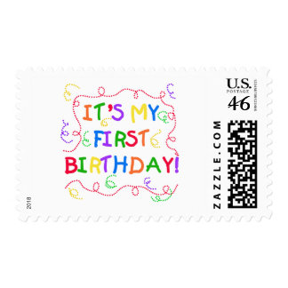 Colorful Text It's My First Birthday Postage