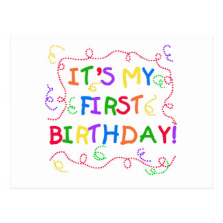 Colorful Text It's My First Birthday Postcard