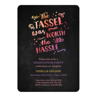 Colorful Text on Chalkboard Graduation Invitation
