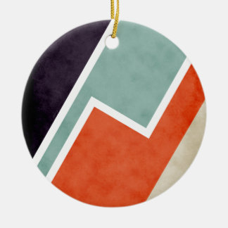 Colorful Textural Abstract Graphic Ceramic Ornament