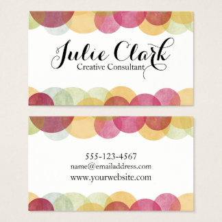 Colorful Textured Bubbles, Modern Whimsical Design Business Card