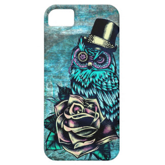 Colorful textured owl illustration on teal base iPhone 5 covers