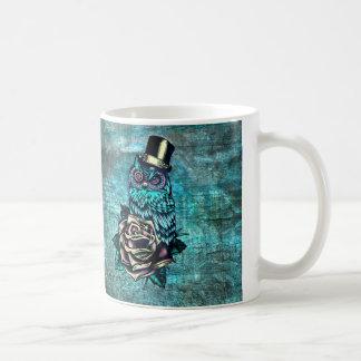 Colorful textured owl illustration on teal base. coffee mug